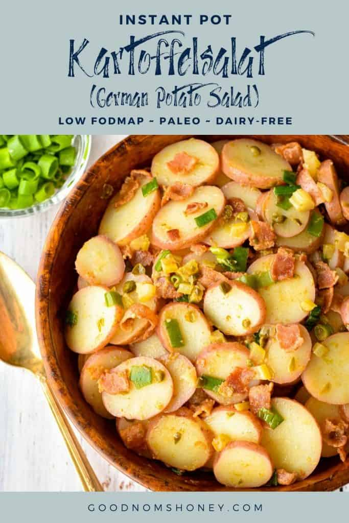 pinterest image of instant pot kartoffelsalat with instant pot kartoffelsalat german potato salad low fodmap paleo dairy-free at the top and goodnomshoney.com at the bottom